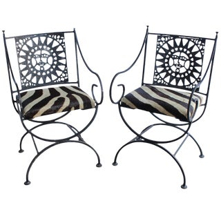 Mid Century Vintage Arthur Umanoff Wrought Iron and Cowhide Sunburst Armchairs- A Pair For Sale