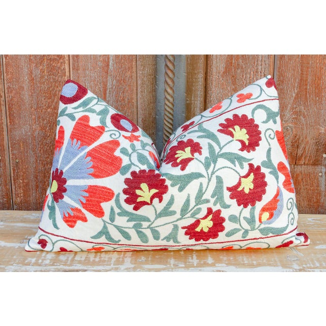 Paoli Coral Floral Suzani Pillow For Sale - Image 9 of 10
