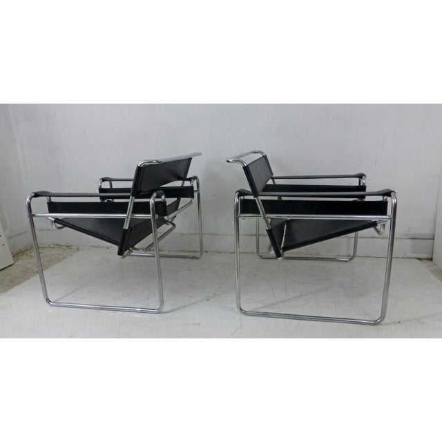 Marcel Breuer Black Leather Chrome Wassily Chairs - A Pair - Image 3 of 10