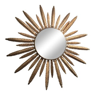 Vintage Tole Sunburst Mirror For Sale