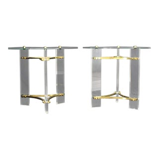 Vintage Mid Century Round Glass Brass and Lucite End Tables- a Pair For Sale