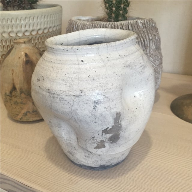 Vintage White Raku Pot Planter - Image 3 of 7