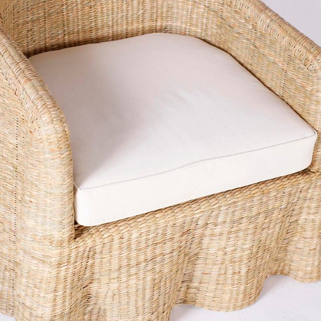 Mid-Century Modern Wicker Drapery Ghost Arm Chairs - a Pair For Sale - Image 3 of 11