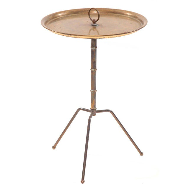 1950s Vintage Patinated Brass Italian Side Table For Sale - Image 4 of 4