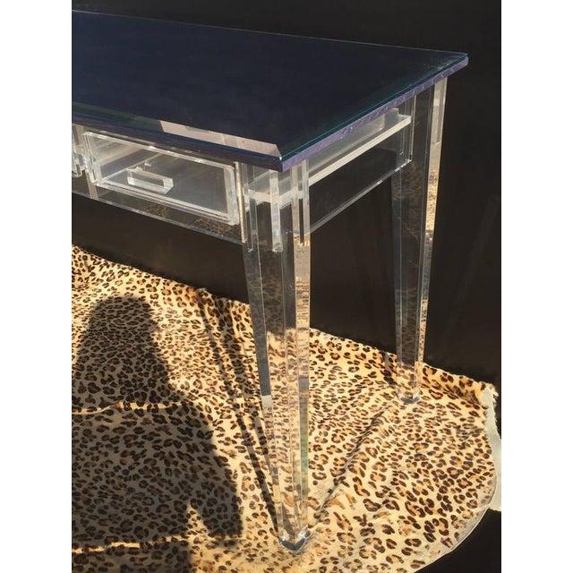 Elegant Lucite Desk with Mirror Top Style of Charles Hollis Jones - Image 8 of 8