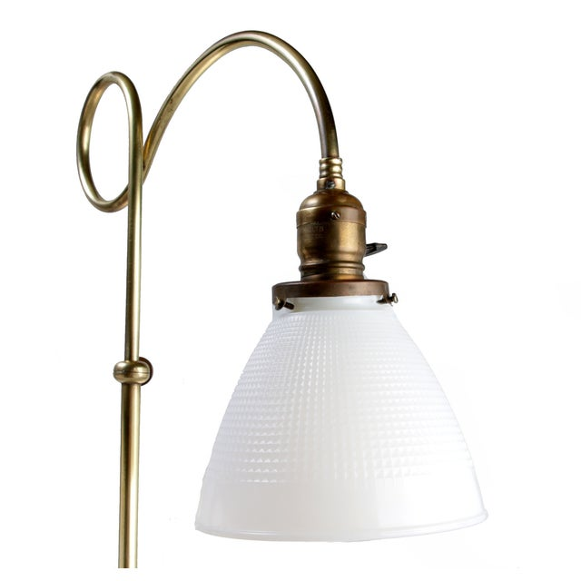 Brass Table Lamp W/ Milk Glass Globe - Image 5 of 10
