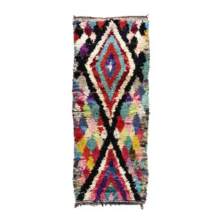 1990s Moroccan Boucherouite Rug - 3′3″ × 8′ For Sale