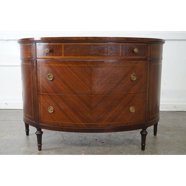 Antique 1920s Demilune Inlaid Walnut Louis XVI Style Chest of Drawers - Image 2 of 10