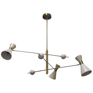 "Mid-Century Modern Blueprint Lighting ""Campana"" Three-Arm White Pendant For Sale"