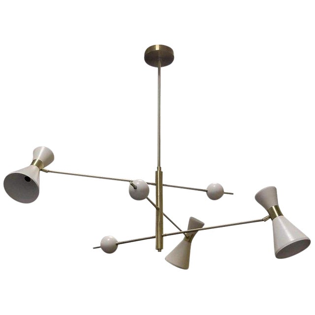 "Mid-Century Modern Blueprint Lighting ""Campana"" Three-Arm White Pendant For Sale"