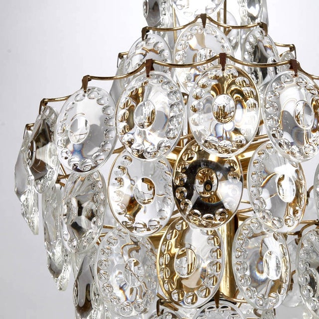 Kinkeldey Suspended Glass Disks & Brass Chandelier - Image 5 of 6