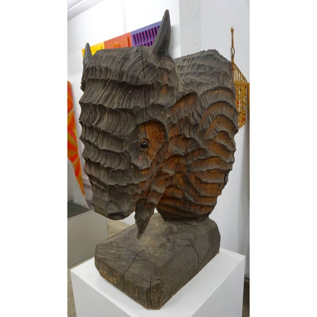 Brown Extraordinary Chainsaw Sculpted Buffalo Head For Sale - Image 8 of 8