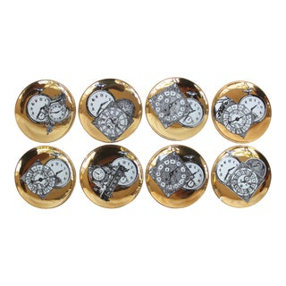 1960s Fornasetti Style Gilt Porcelain Clock Face Coasters - Set of 8 For Sale