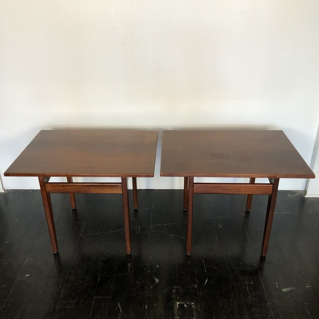 Mid-Century Modern Jens Risom Walnut Side Tables - a Pair For Sale - Image 3 of 13