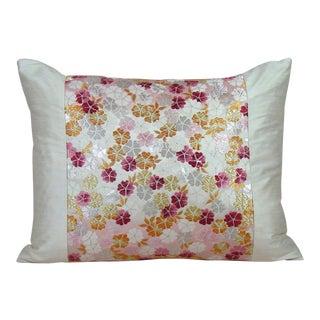 Japanese Cherry Blossom Silk Obi Pillow Cover For Sale