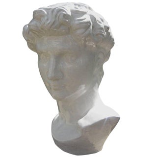 1920s Vintage French Glazed White Terra Cotta Bust For Sale