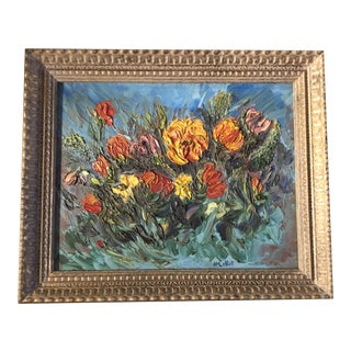 Original Vintage Abstract Floral Pop Art Painting by Listed Artist Harold Leroy 1960's For Sale