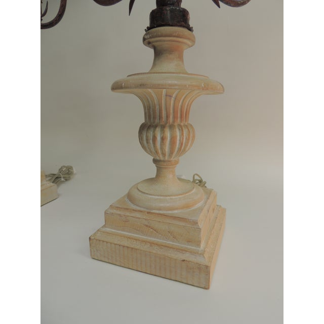 Pair of Vintage Wood and Iron Italian Urn Large Table Lamps For Sale - Image 4 of 5