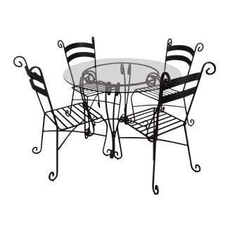 "Wrought Iron 5 Piece 42"" Round Glass Top Bistro Dining Set For Sale"
