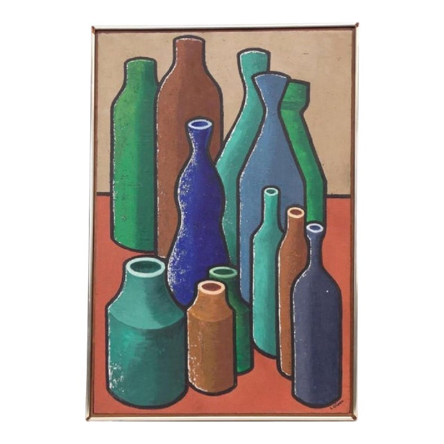 Abstract Oil Painting of Bold Colorful Bottles by L Glass For Sale