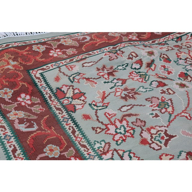 Ruby Red 1950s Vintage Floral Wool & Cotton Kilim - 6′8″ × 9′4″ For Sale - Image 8 of 13
