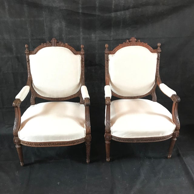 French French Carved Walnut Armchairs - a Pair For Sale - Image 3 of 11