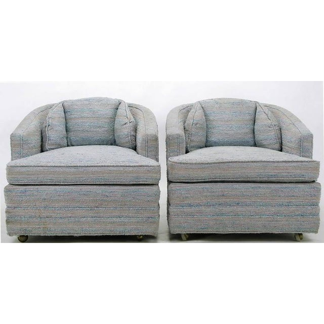Pair of Knapp & Tubbs Barrel Chairs in Original Blue Upholstery - Image 3 of 9