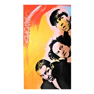 """""""Three Stooges"""" Pop Art Mixed Media & Oil on Canvas For Sale"""
