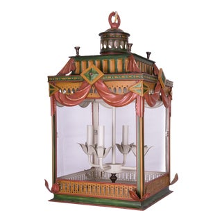 Highly Decorative Painted Tole Lantern
