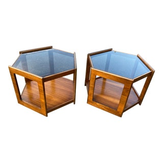 1960s Walnut Hexagonal Matching Smoke Glass Side Tables - a Pair For Sale