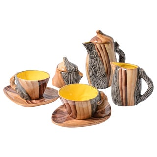 "French Vallauris Faux Bois ""Tete a Tete"" Coffee Set"