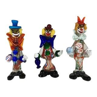 Handcrafted Murano Art Glass Clowns - Set of 3