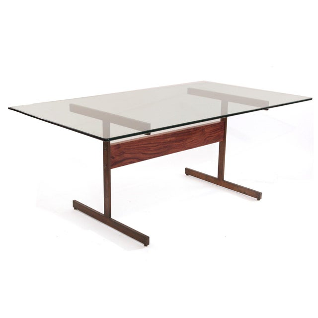 Milo Baughman Bronze and Rosewood I Beam Dining Table For Sale In Phoenix - Image 6 of 6