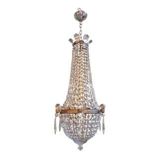 Montgolfièr Empire Sac a Pearl Chandelier Crystal Lustre Ceiling Lamp Art Nouveau Basket For Sale