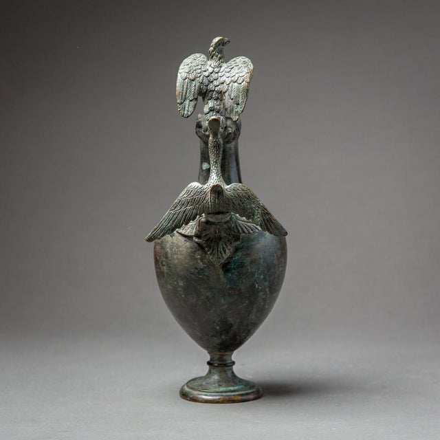 Neoclassical Bronze Ewer With Bird Finial and Handle For Sale - Image 3 of 9
