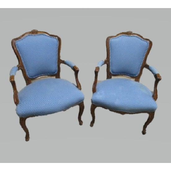 Fabric A Pair Bergere Chairs - Blue Antique French Country Accent Chair For Sale - Image 7 of 7