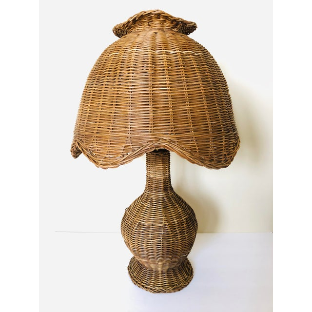 Tan Vintage Wicker Table Lamp For Sale - Image 8 of 8