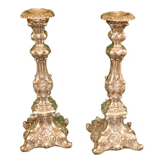 Continental Baroque S.P. Candlesticks - a Pair For Sale