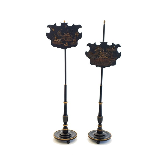 Mid 19th Century 19th Century English Chinoiserie Pole Fire Screens - a Pair For Sale - Image 5 of 5