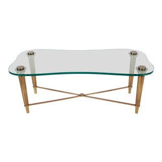 1950's French Solid Brass Hollywood Regency Biomorphic Glass Coffee Table For Sale