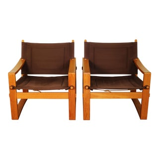 Børge Jensen Danish Teak Safari Chairs - A Pair
