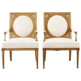 Image of Pair of Louis XVI Swedish Gustavian Style Gilt Armchairs For Sale