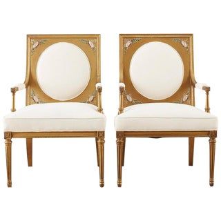 Pair of Louis XVI Swedish Gustavian Style Gilt Armchairs For Sale