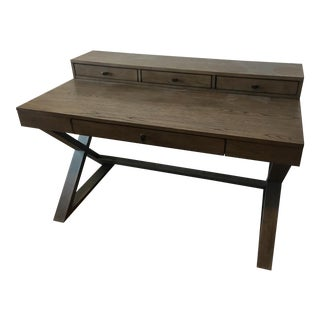 Crate and Barrel Contemporary Greydon Desk With Drawers and Hutch