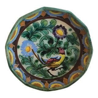Vintage Italian Ceramic Bird Plate For Sale
