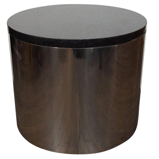 Mid-Century Modern Cylindrical Drum Form Chrome and Granite Occasional Table For Sale