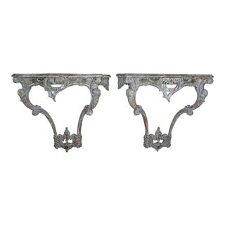French Carved Painted Louis XV Style Consoles, a Pair For Sale