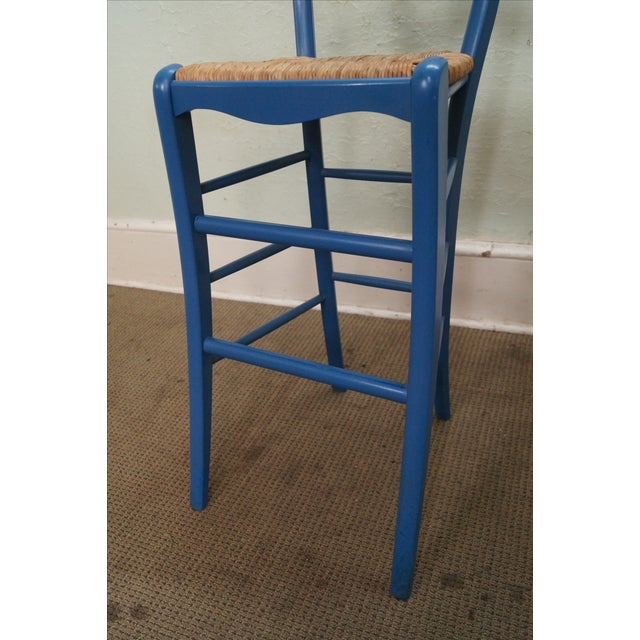 French Country Rush Seat Bar Stools - Set of 3 - Image 10 of 10