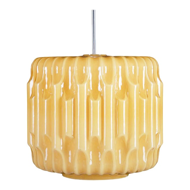 Large Mid-Century Glass Hanging Lamp, 1960s For Sale