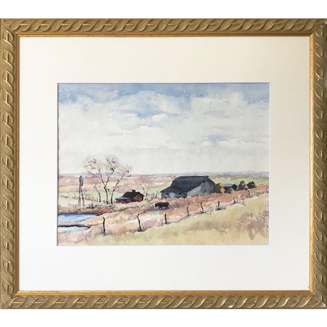 Vintage Watercolor Landscape W/ Farm For Sale In New York - Image 6 of 6
